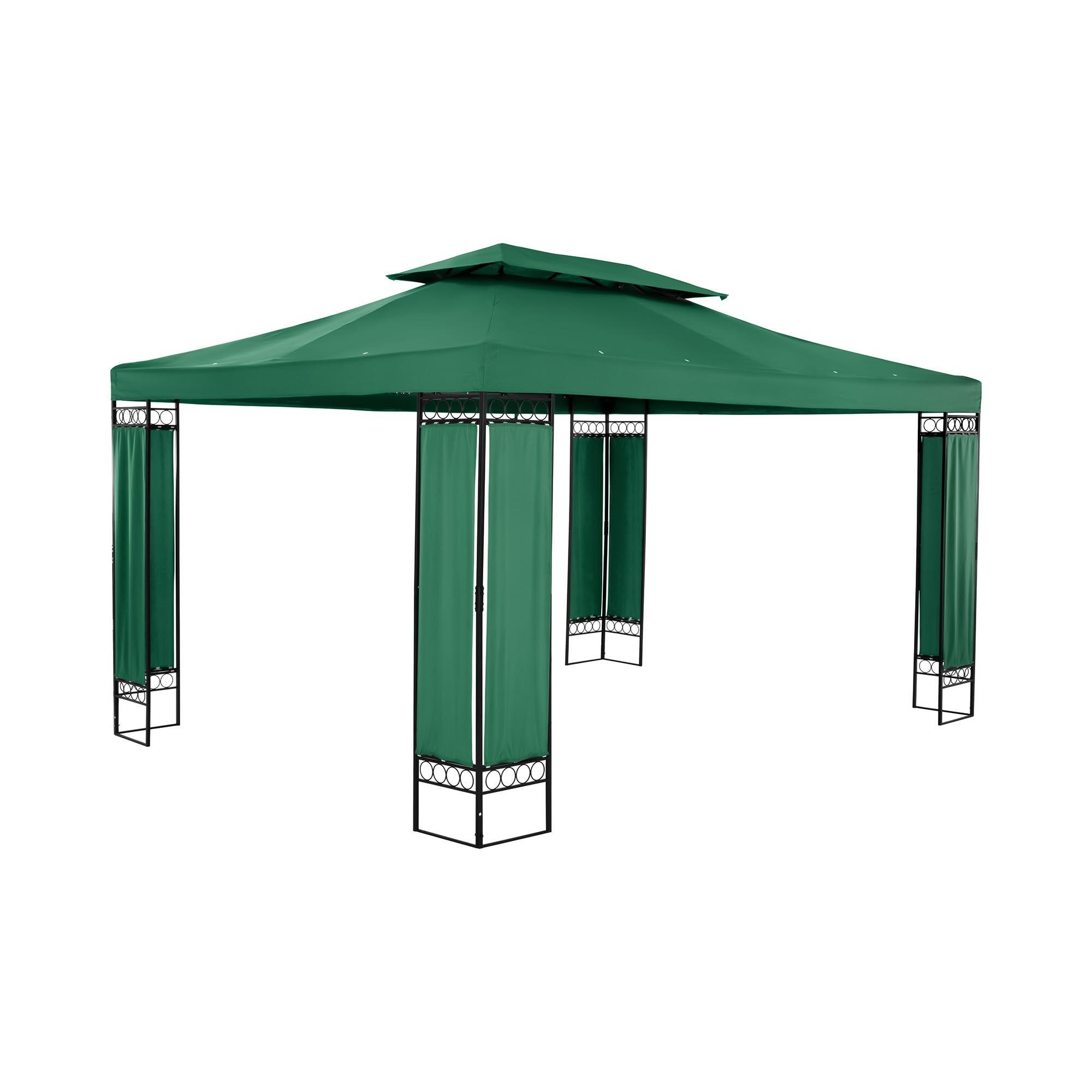 Uniprodo Gazebo da gardino - 3 x 4 m - 160 g/m² - verde scuro UNI_PERGOLA_3X4GF