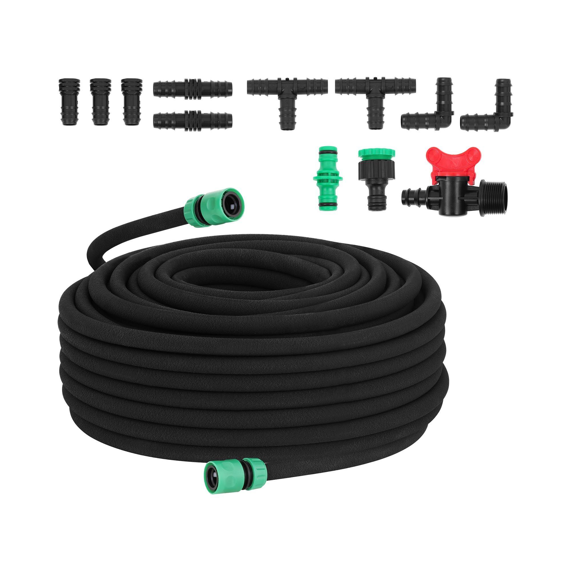 hillvert tubo poroso per irrigazione a goccia - 50 m + presa rubinetto + valvola ht-costigan-50x12s01