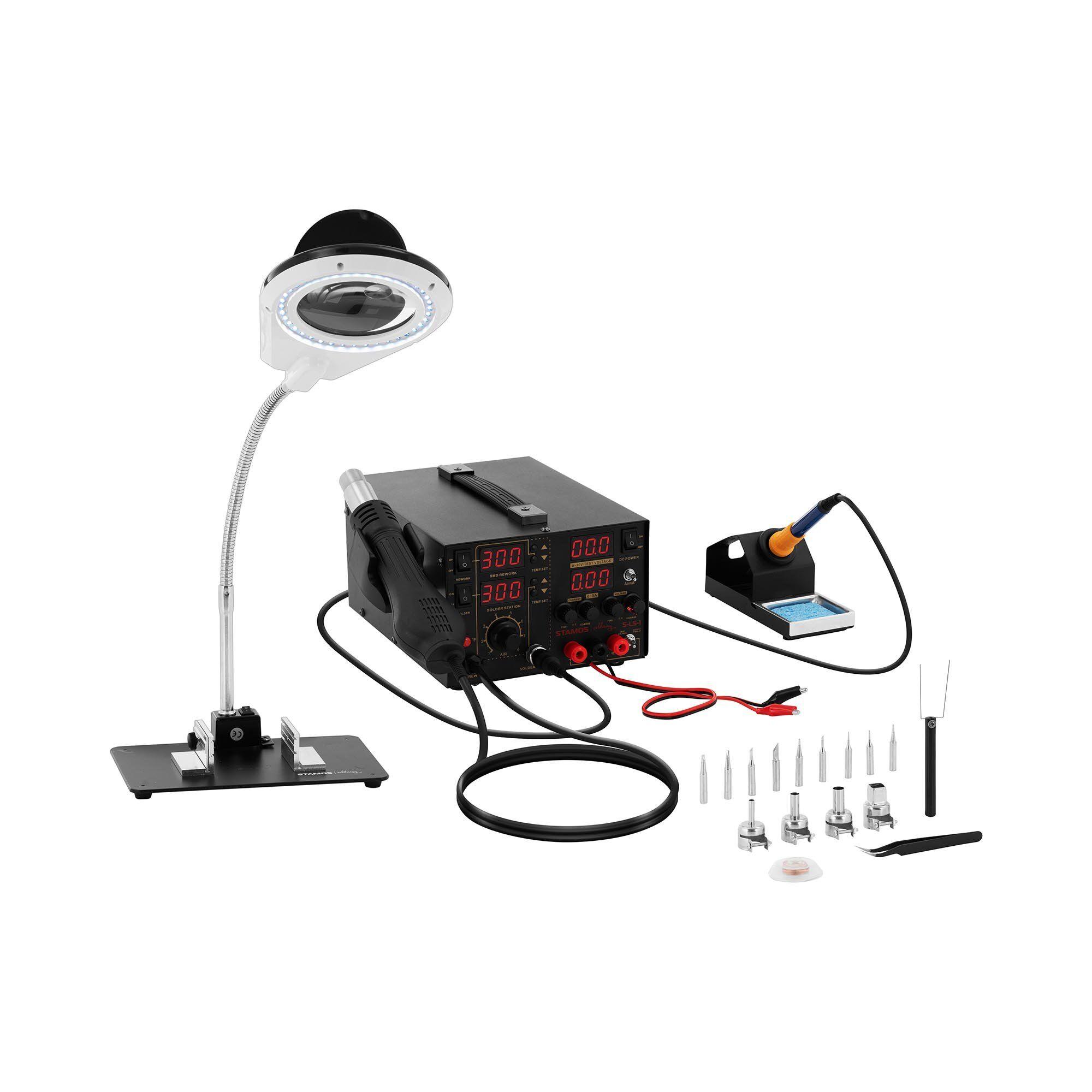 stamos soldering set stazione saldante con alimentatore integrato + accessori s-ls-1
