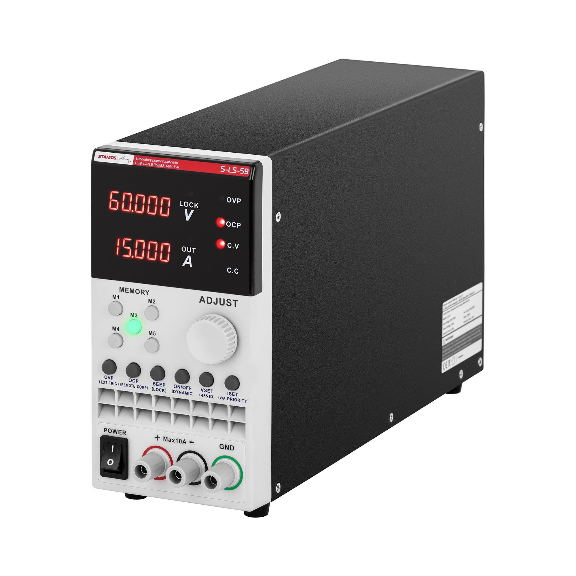 stamos soldering alimentatore stabilizzato da banco - 0-60 v - 0-15 a cc - 300 w - usb/lan/rs232 s-ls-59
