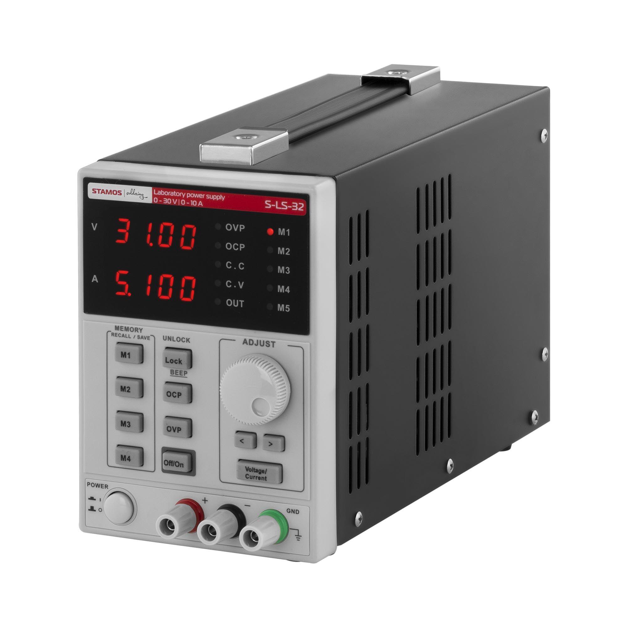 Stamos Soldering Alimentatore da banco - 0-30 V, 0-10 A CC, 550 W - 4 memorie S-LS-32