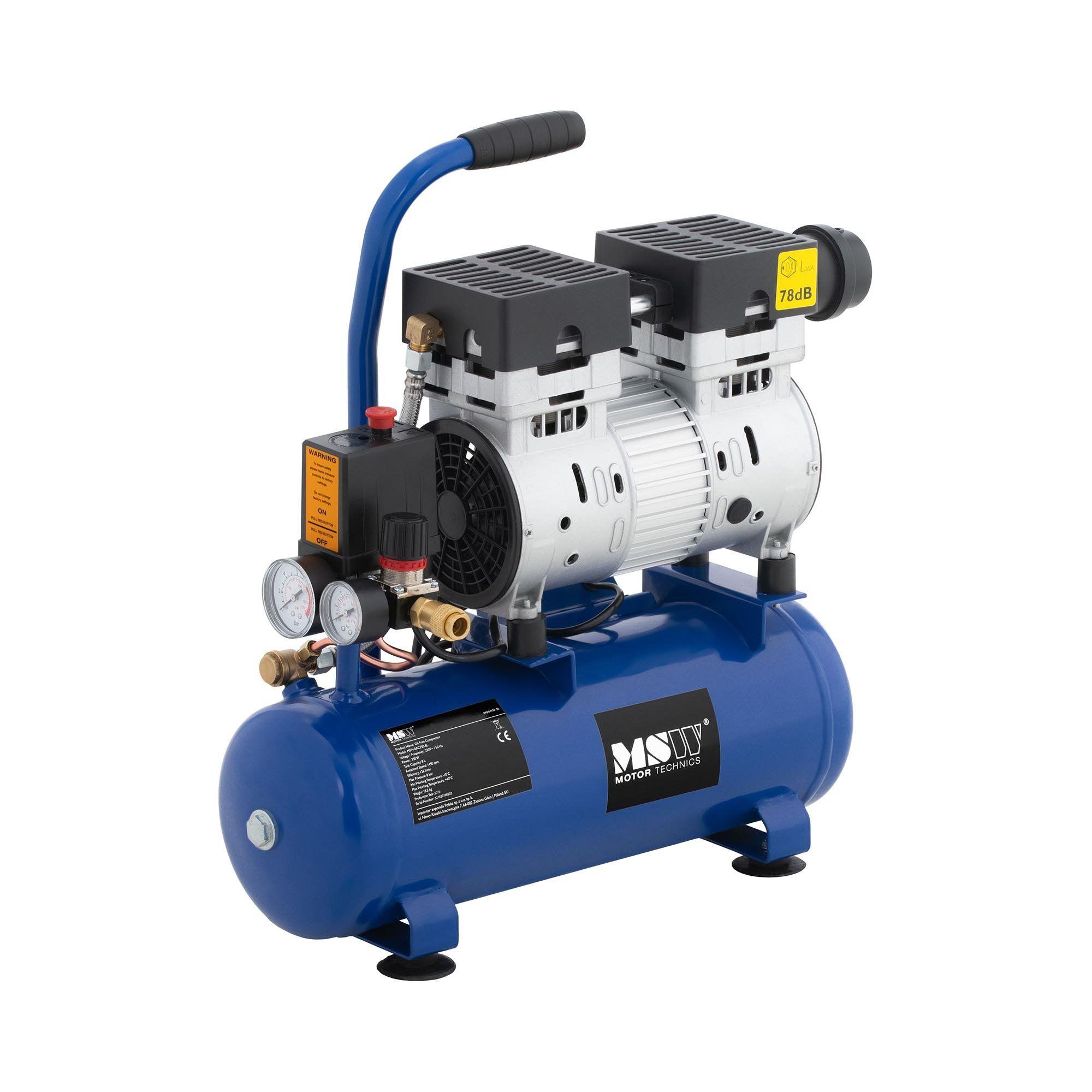 MSW Compressore senza olio - 8 L - 750 W -0AC750-8L