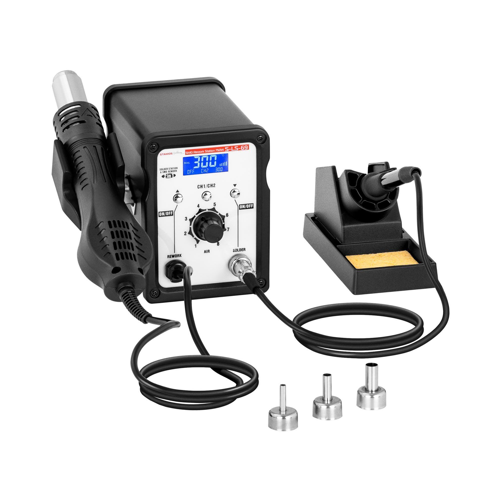 stamos soldering stazione saldante - stazione rework smd - con saldatore 50 w e saldatore ad aria calda 750 w s-ls-69