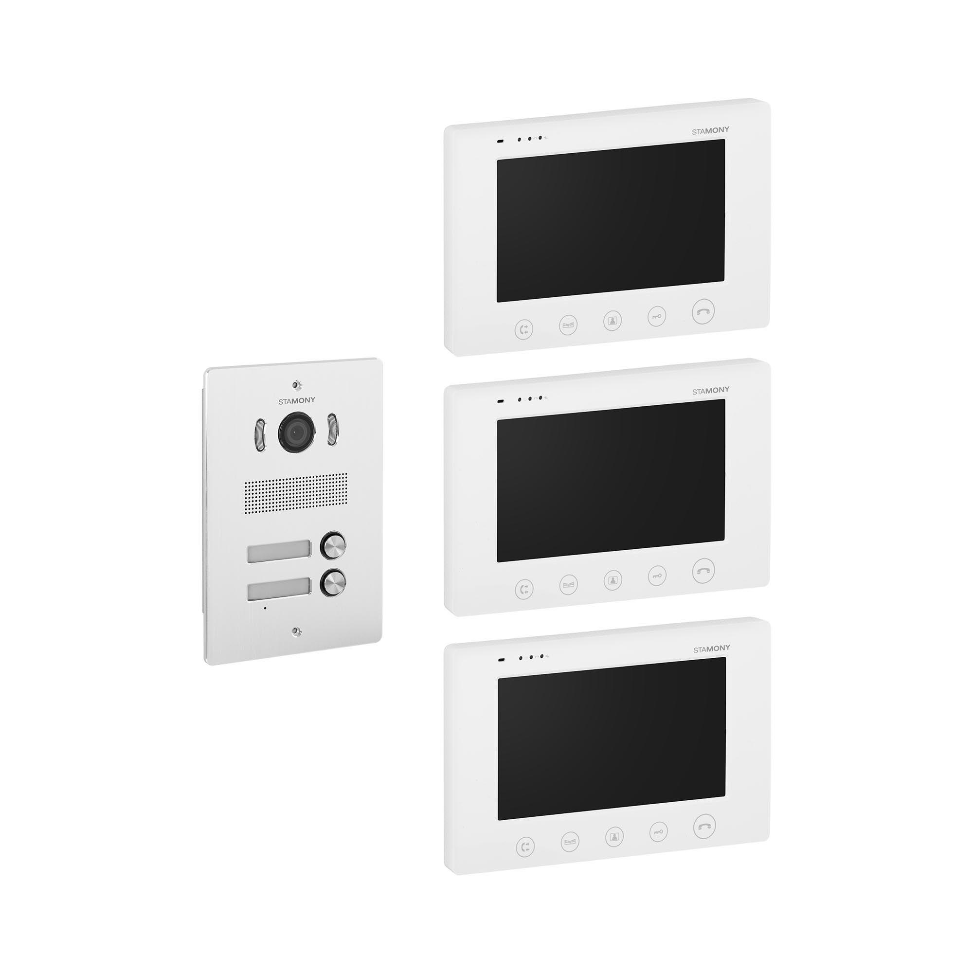 stamony kit videocitofono bifamiliare - 3 monitor - display 17,8 cm - telecamera esterna, apriporta e apricancello st-vp-300