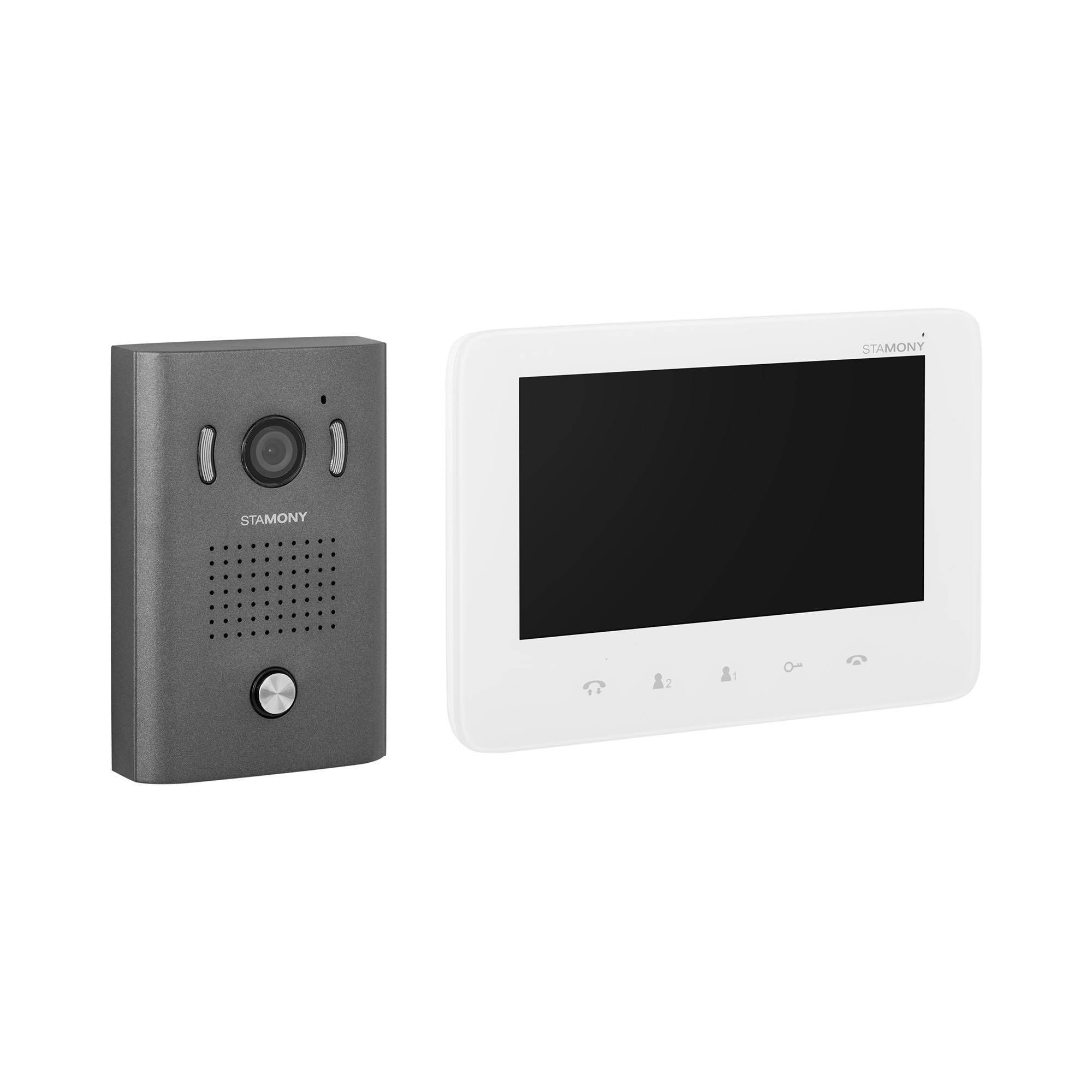 stamony kit videocitofono bifamiliare - 1 monitor - display 17,8 cm - telecamera esterna, apriporta e apricancello st-vp-400