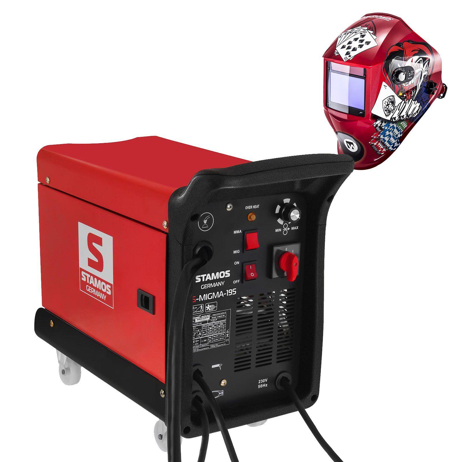 stamos germany set di saldatura saldatrice multiprocesso - 195 a - 230 v - portatile + maschera da saldatore - pokerface - professional series