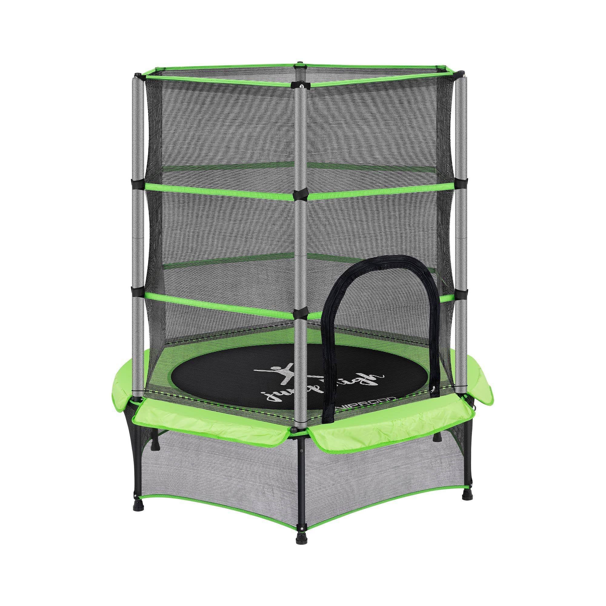 uniprodo tappeto elastico bambini - con rete di sicurezza - 140 cm - 50 kg - verde uni_trampoline_01