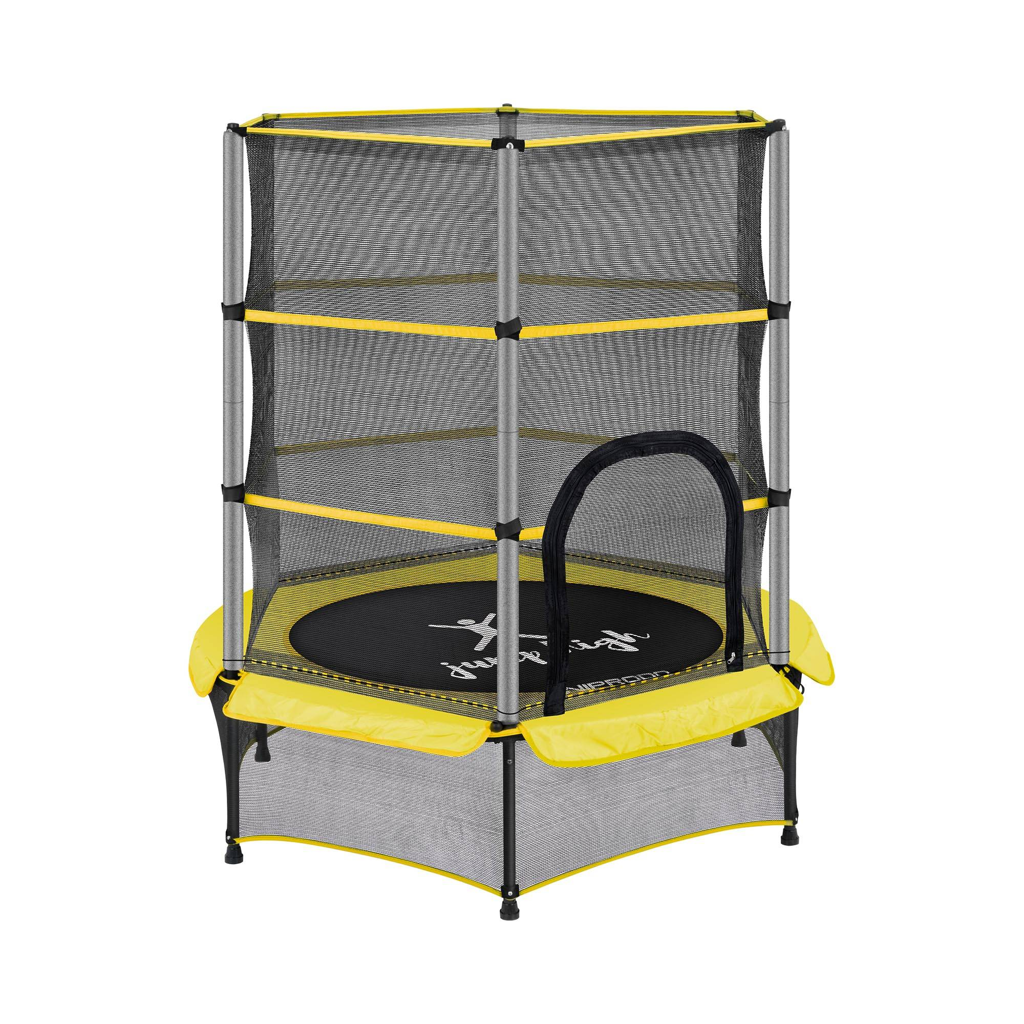 uniprodo tappeto elastico bambini - con rete di sicurezza - 140 cm - 50 kg - giallo uni_trampoline_02
