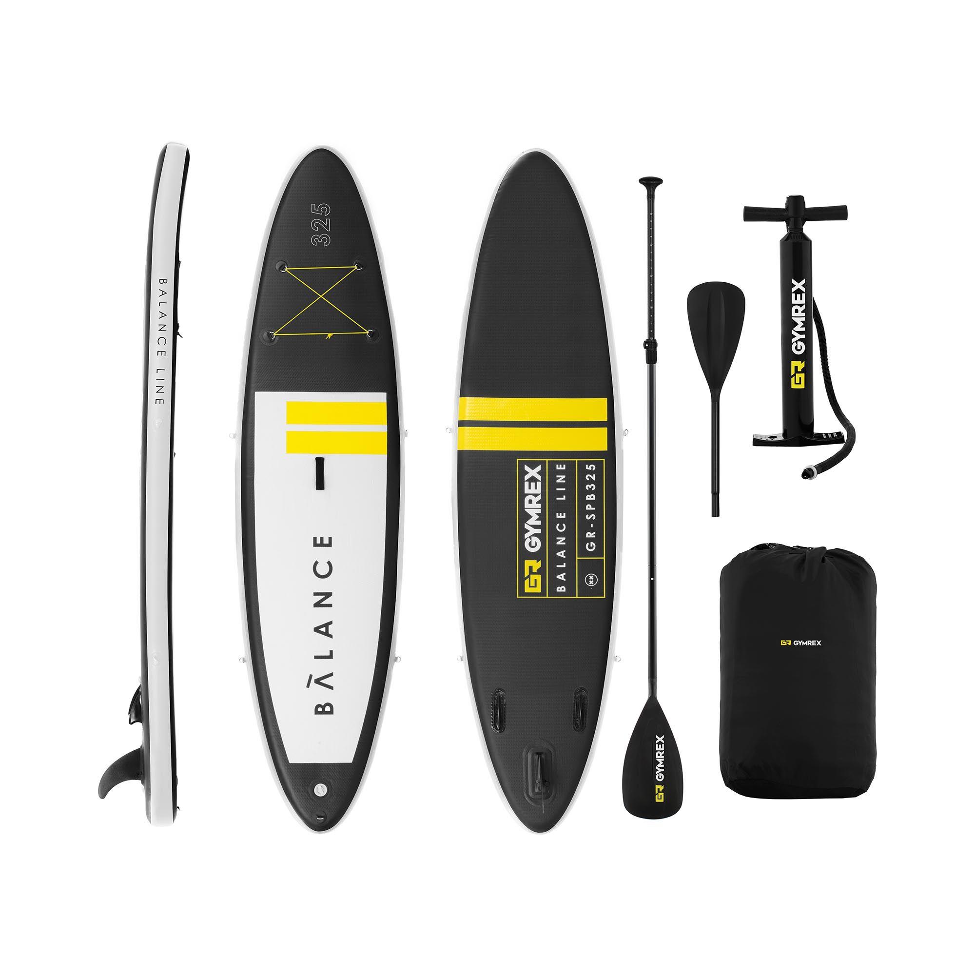 Gymrex SUP gonfiabile - 145 kg - nero/giallo - Set con remo e accessori GR-SPB325