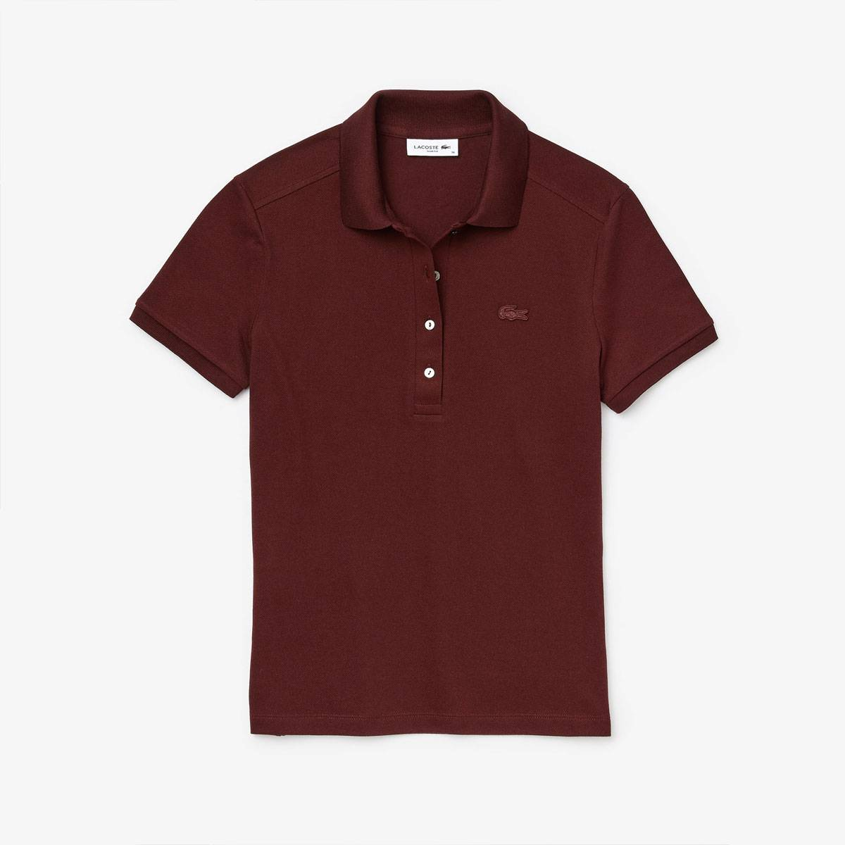 Lacoste Polo Donna in Cotone Stretch Bordeaux 4GD - 42 - Donna