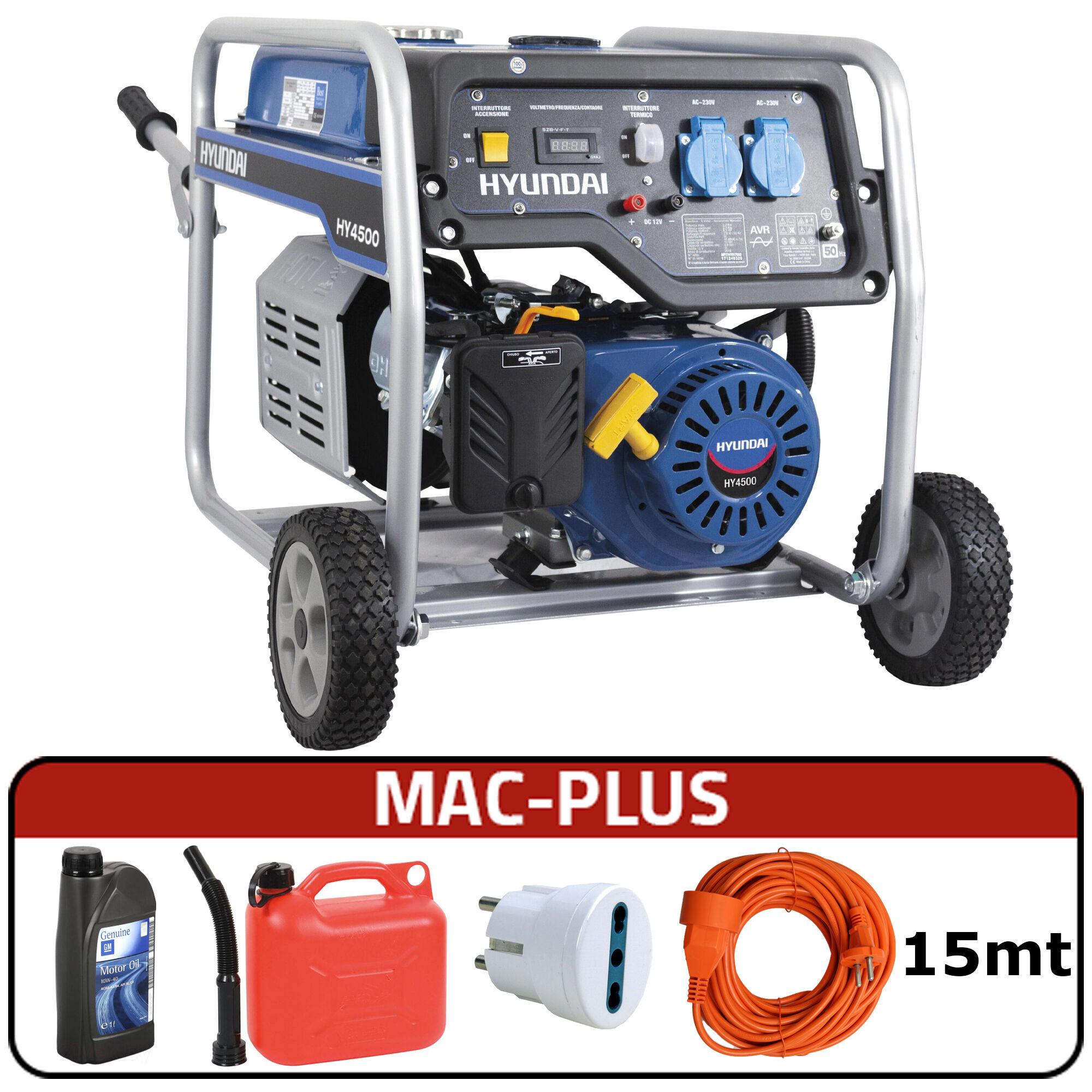 hyundai generatore di corrente carrellato hyundai 65015 - hy4500 con avr + mac-plus
