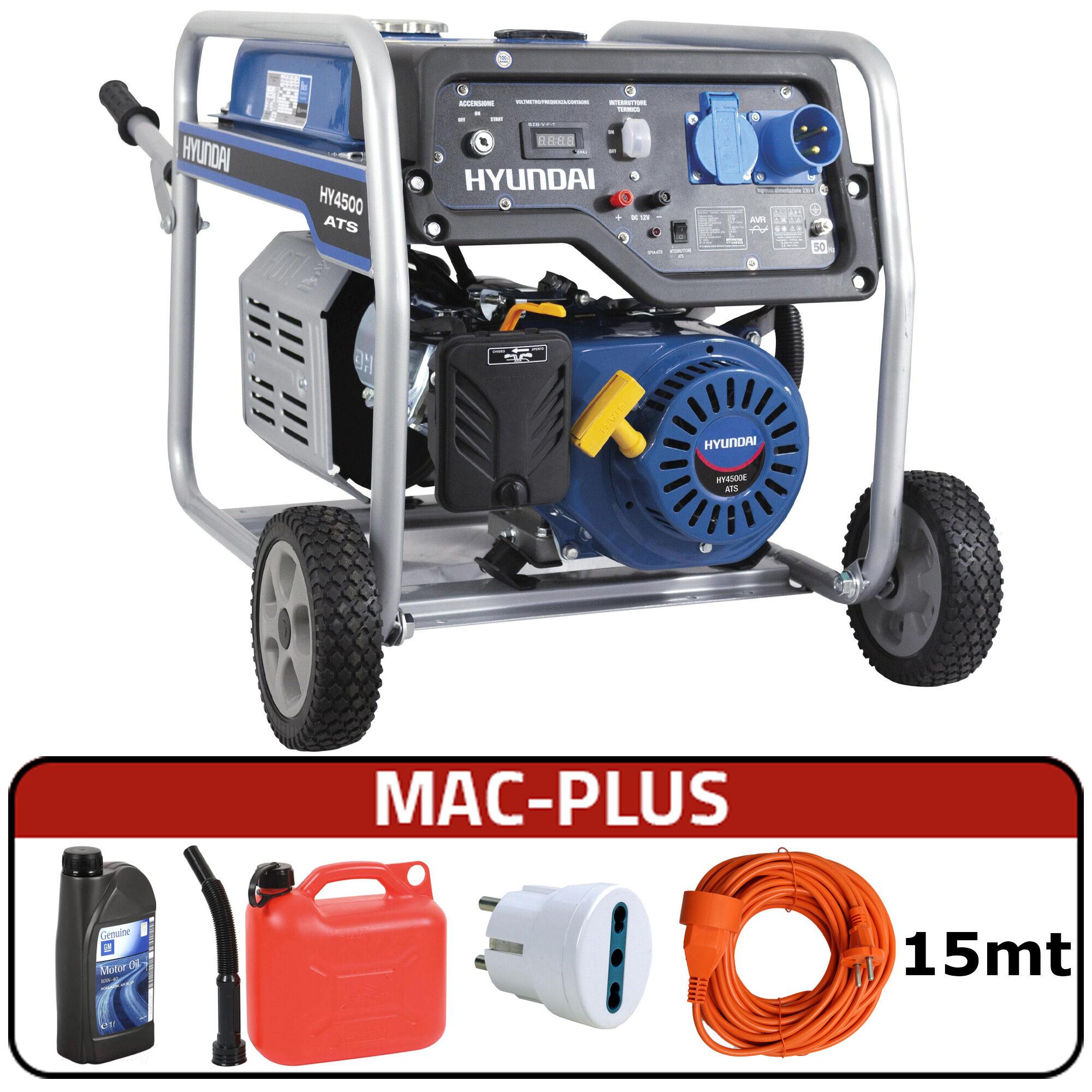 hyundai generatore di corrente carrellato hyundai 65016 - hy4500e ats con avr + mac-plus