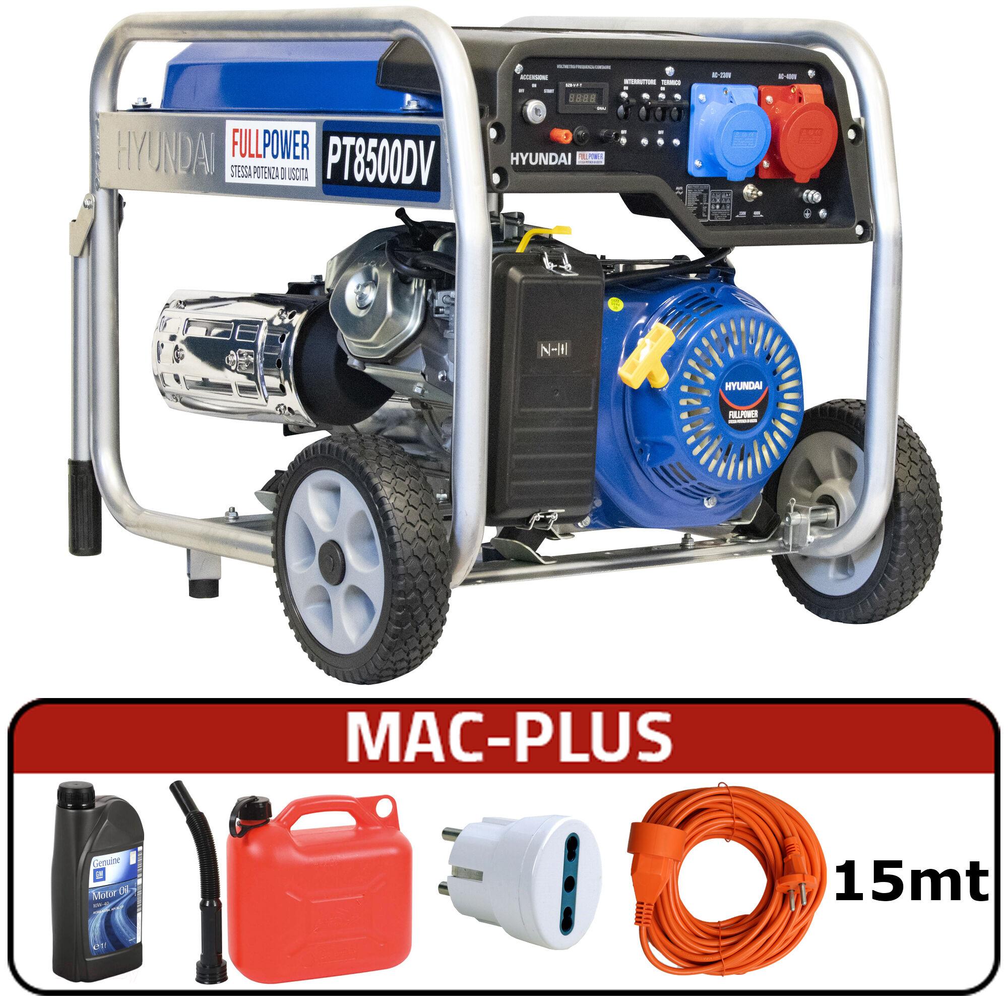 hyundai generatore di corrente carrellato hyundai 65018 - hy8000e 1/3 con avr + mac-plus