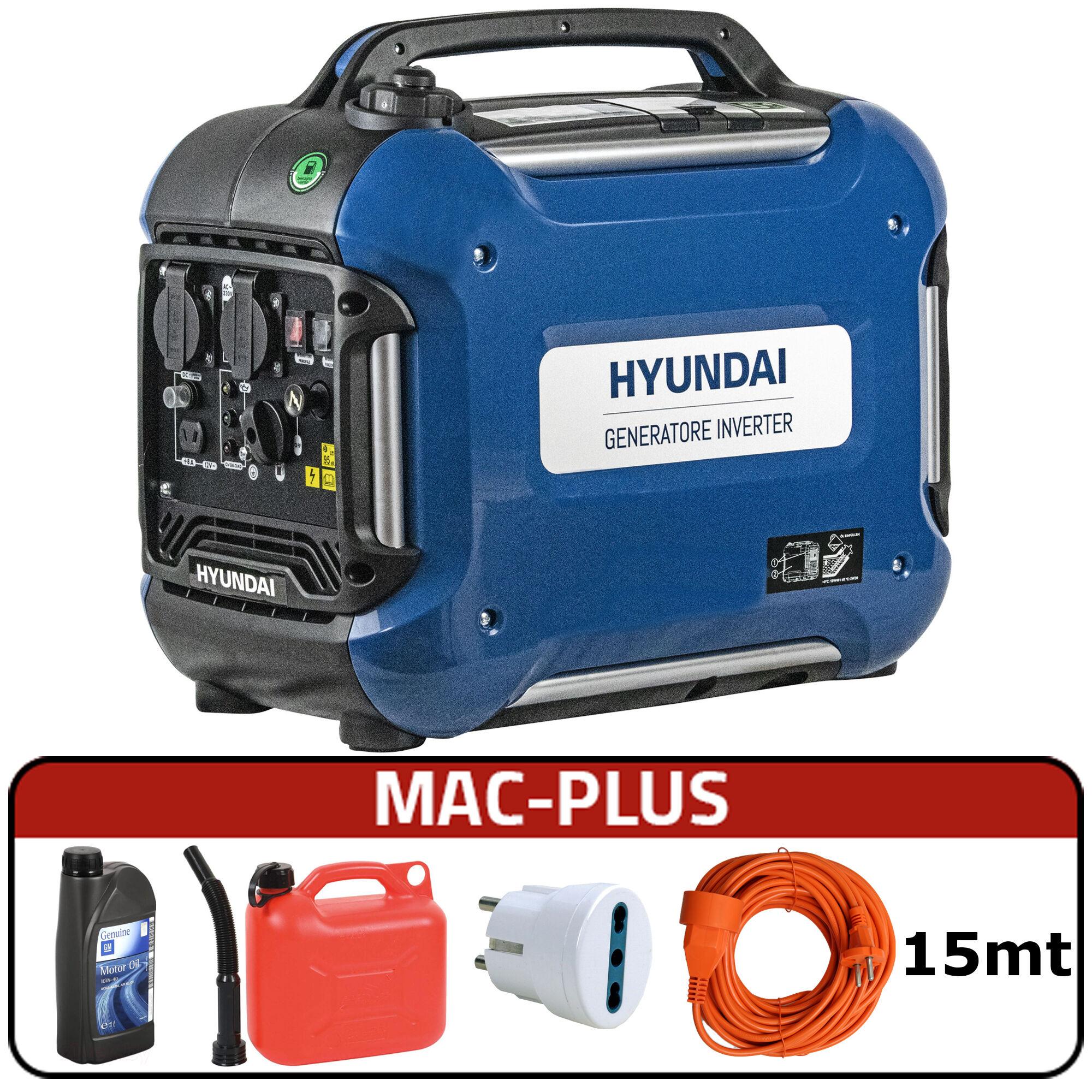 hyundai generatore di corrente inverter silenziato hyundai 65155 - tg2000i con avr + mac-plus