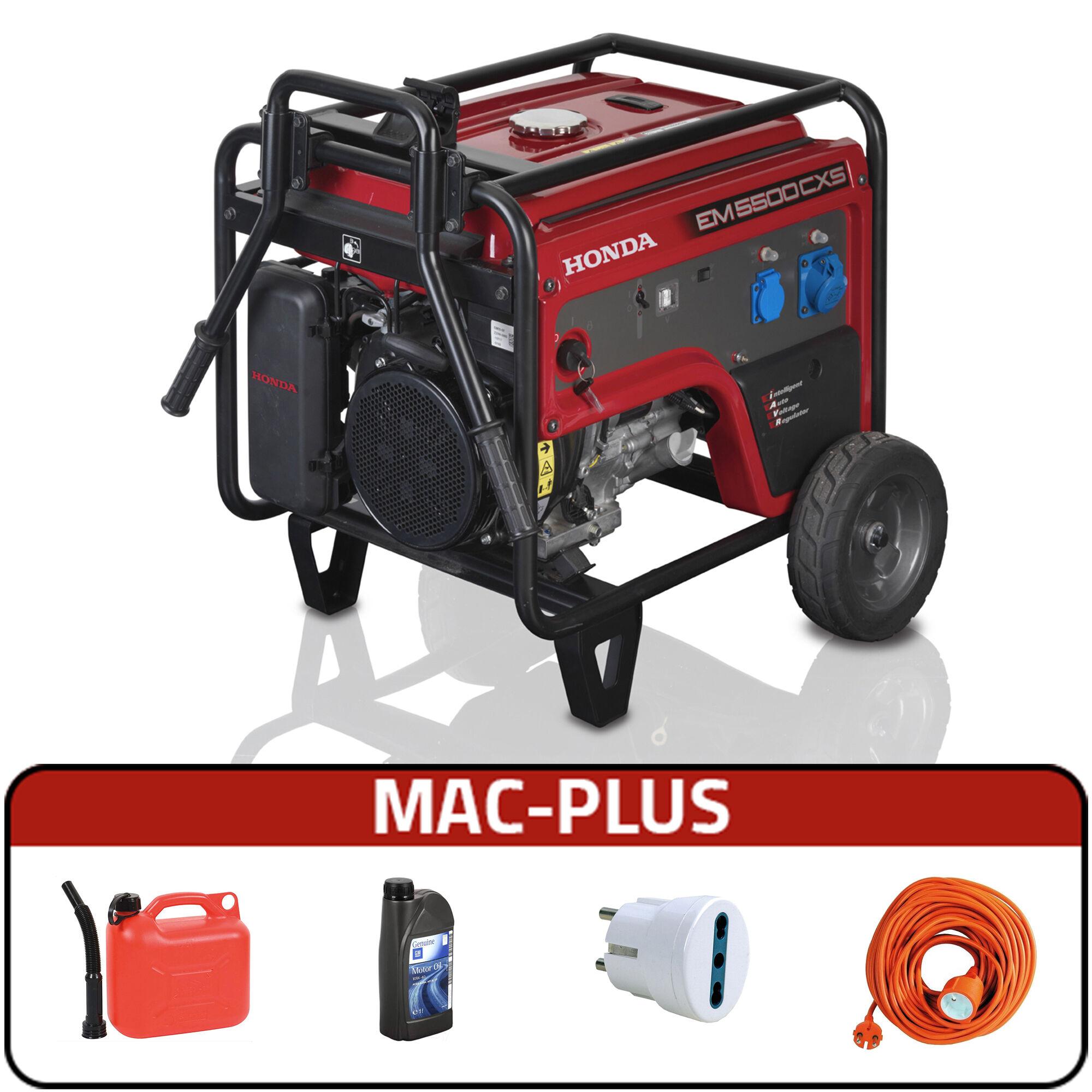 honda generatore di corrente honda em 5500cxs carrellato + mac plus