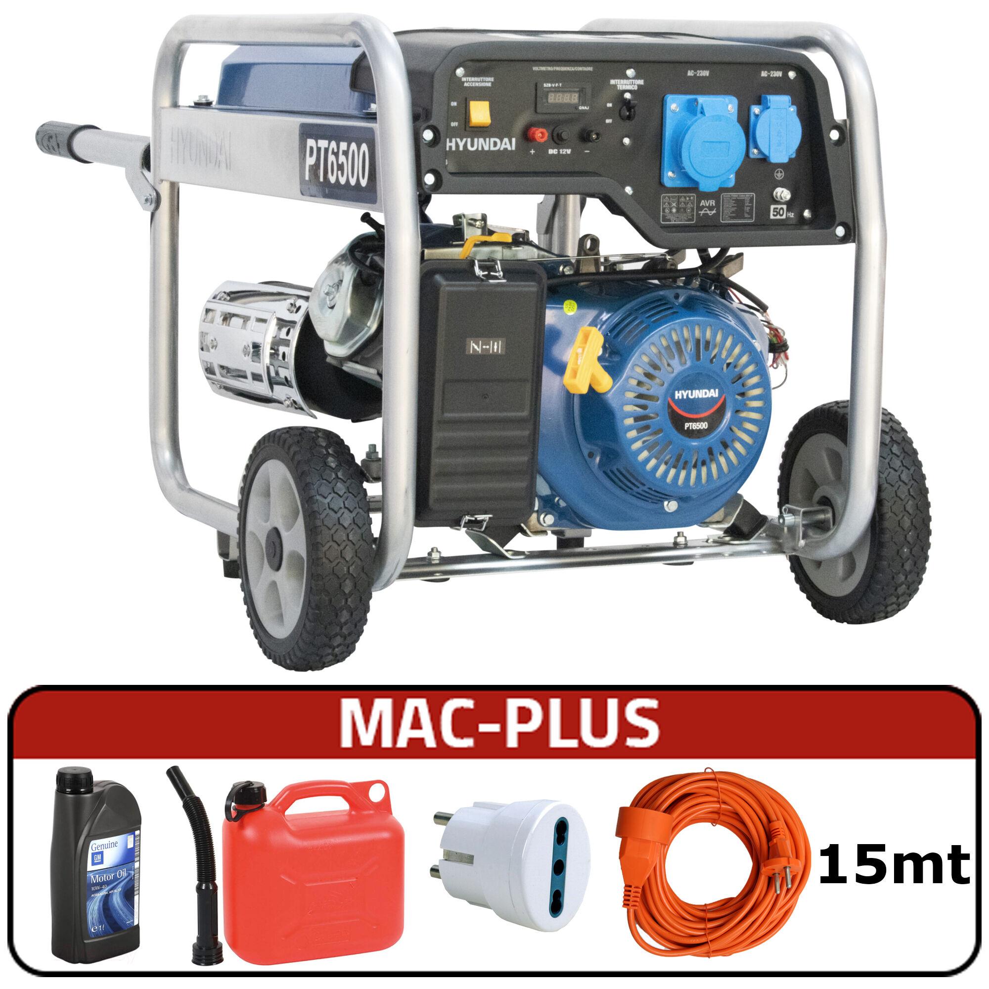 hyundai generatore di corrente carrellato hyundai 65012 hy5500 con avr + mac-plus