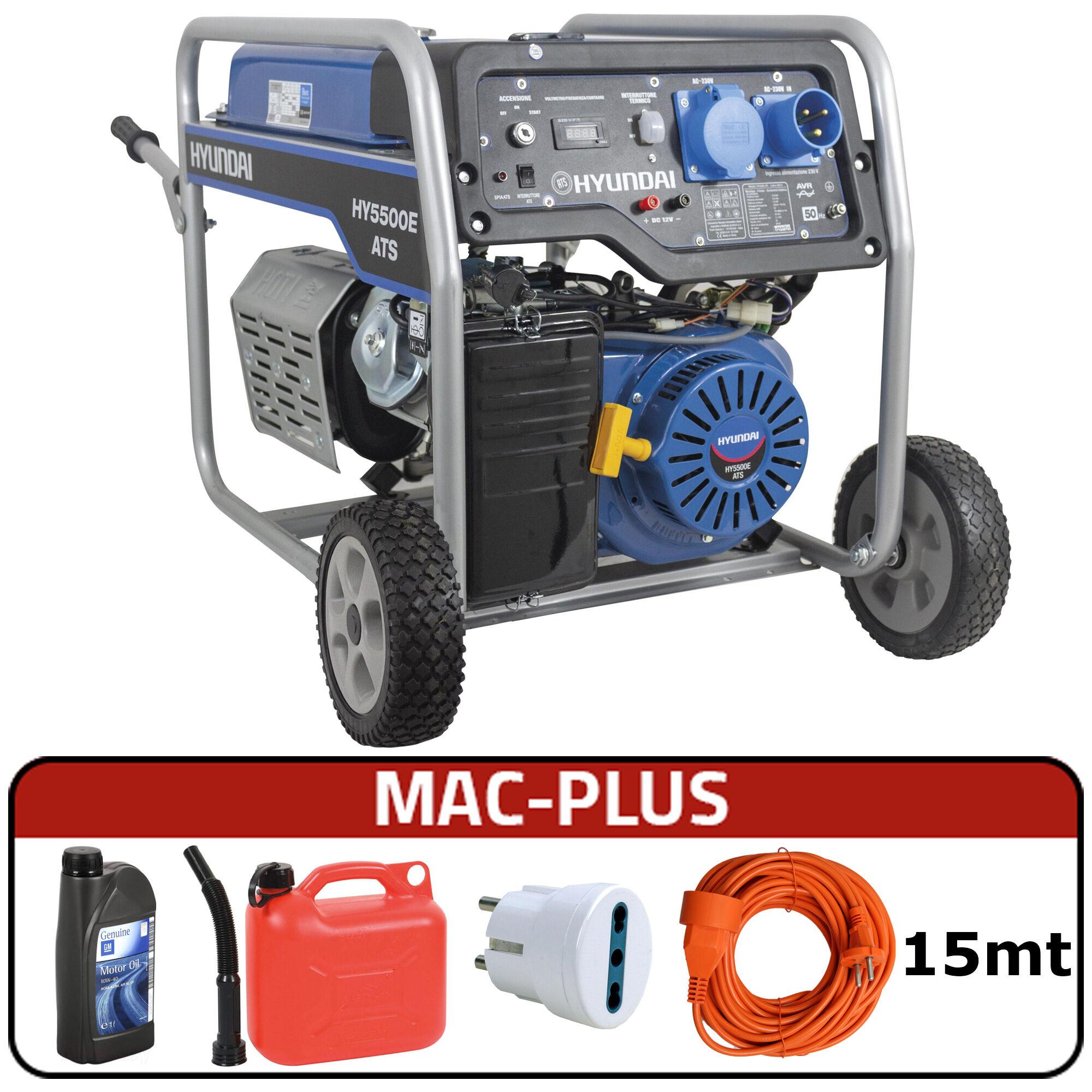 hyundai generatore di corrente hyundai 65014 hy5500e ats con avr + mac-plus