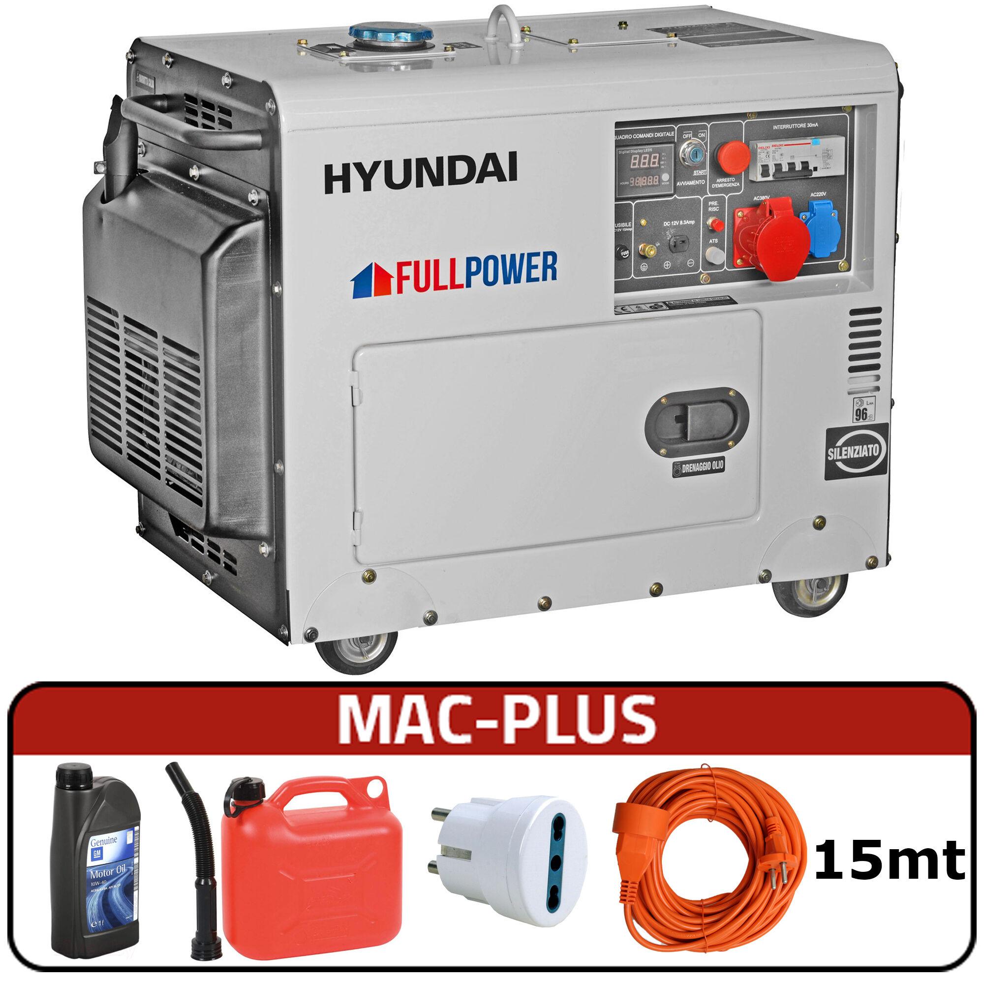 hyundai generatore di corrente hyundai 65230 dhy8500se-t con avr + mac-plus