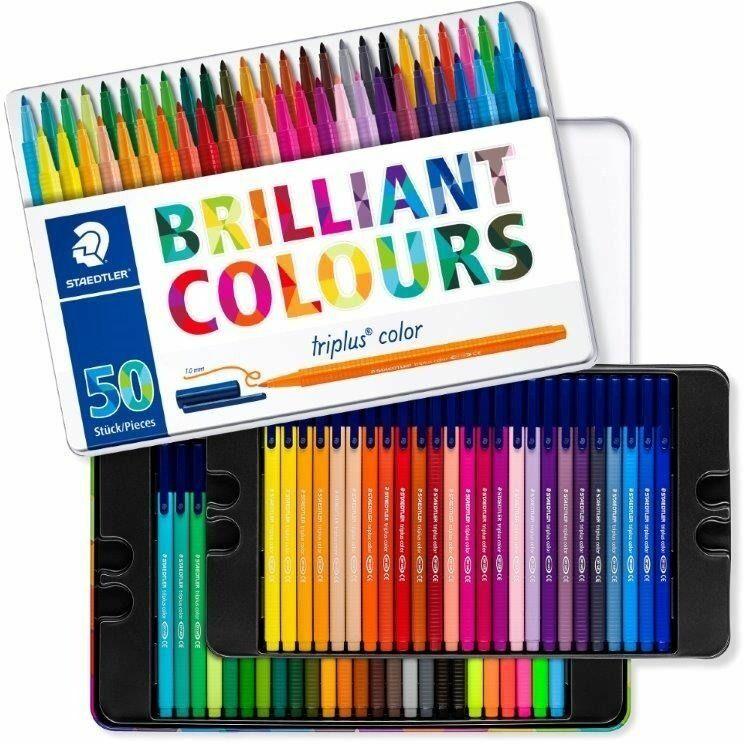 staedtler pennarelli  triplus color. scatola in metallo 50 colori ...