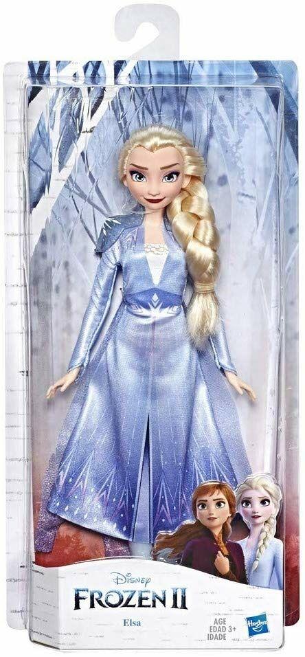 hasbro frozen 2. elsa (fashion doll con capelli lunghi e abito blu, ispi...