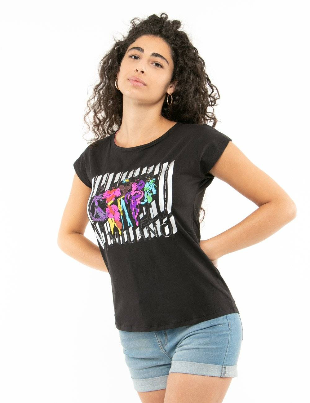 Yes Zee T-Shirt Yes Zee Con Stampa Colorata Nero