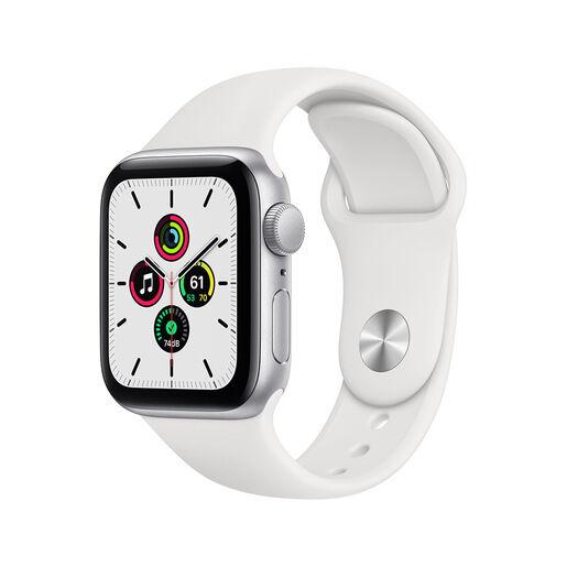Apple Watch SE GPS, 40mm in alluminio argento con cinturino Sport Bian