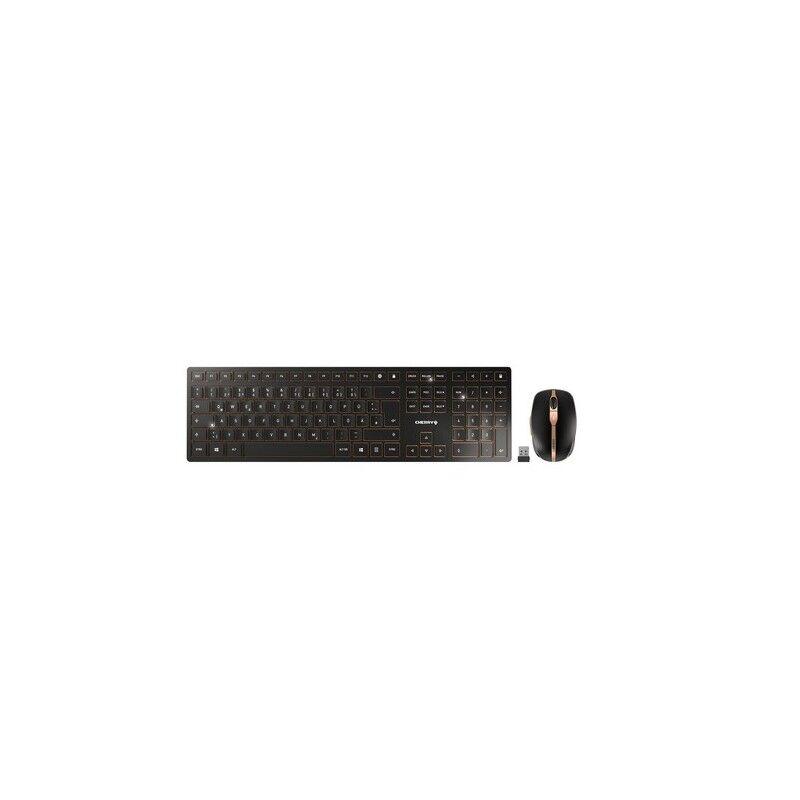 cherry dw 9100 slim tastiera rf senza fili + bluetooth qwertz tedesco nero