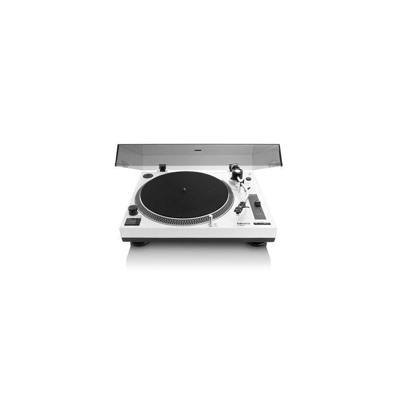 lenco l-3808 giradischi a trasmissione diretta nero, bianco