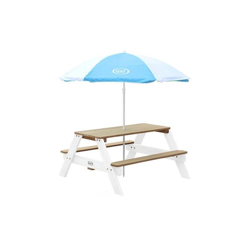 axi nick picnic table brown/white - umbrella blue/white