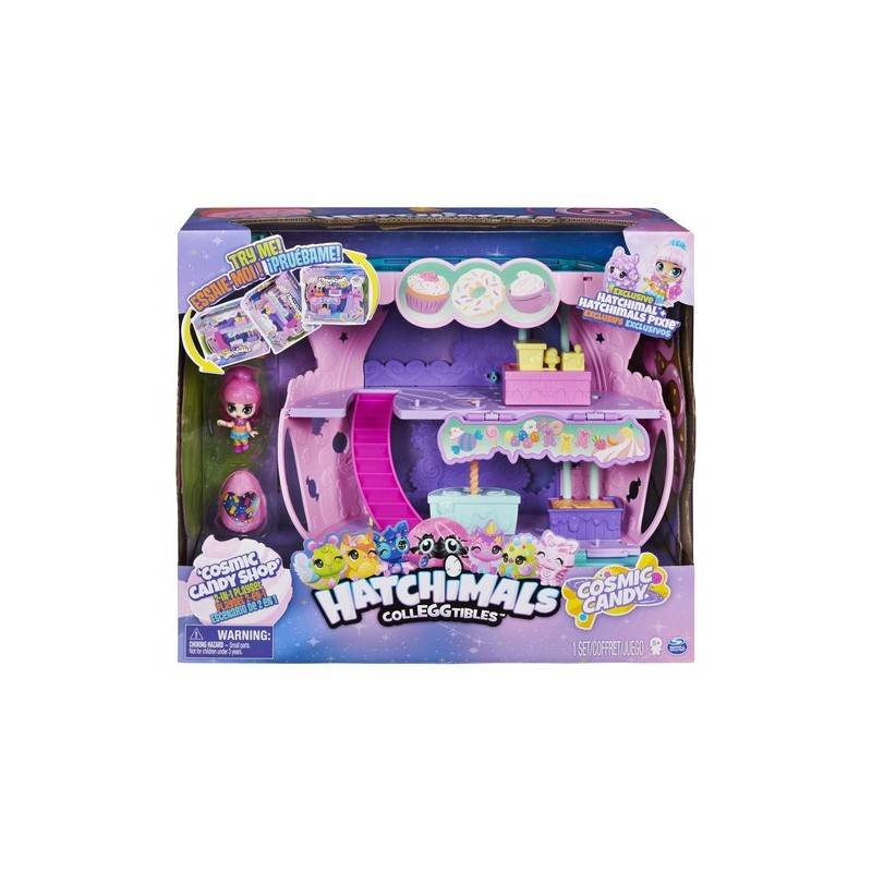 spin master hatchimals cosmic candy shop 2-in-1 playset with exclusive pixie and hatchimal casa per le bambole