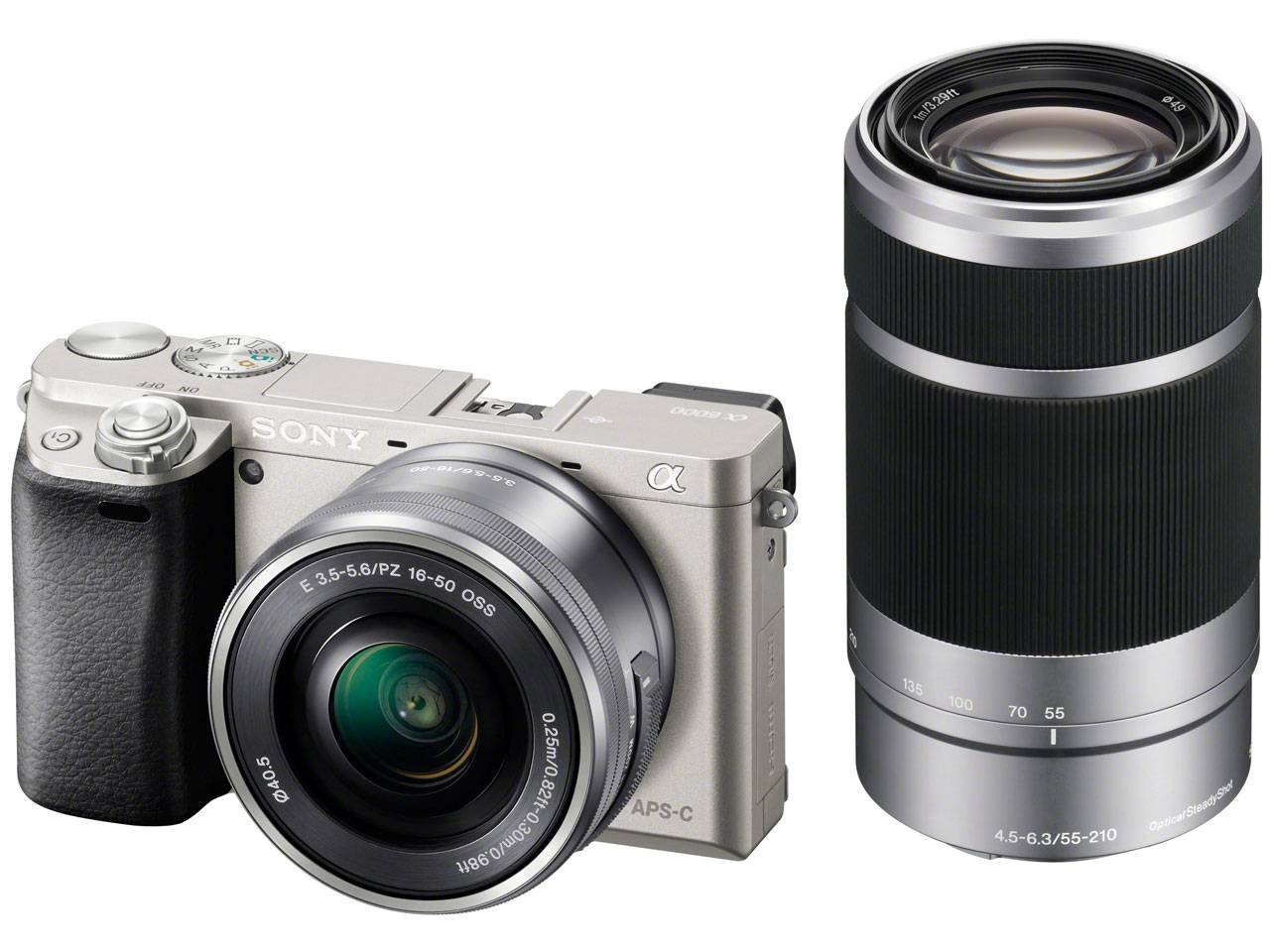 Sony Alpha A6000 + 16-50mm + 55-210mm - Argento - 4 Anni Di Garanzia