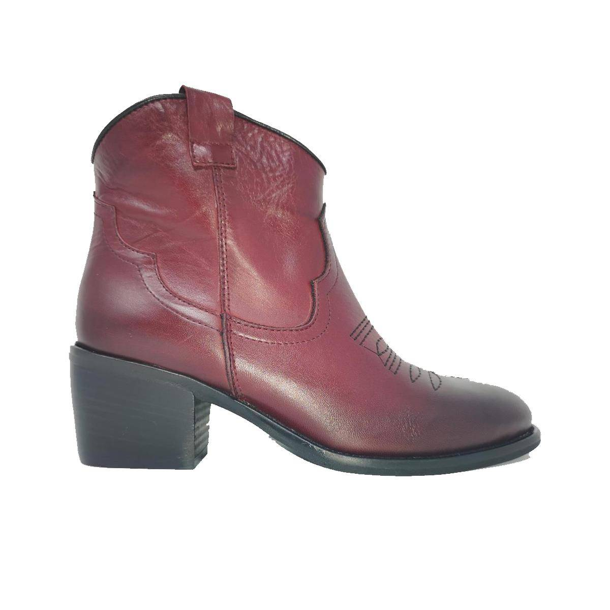 Exton Camperos Donna In Pelle Con Tacco Bordeaux
