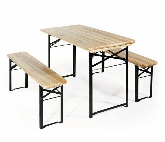 verdelook set birreria 2 panche e tavolo 70x220 cm. in legno/ferro