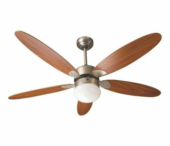 zephir ventilatore da soffitto 5 pale marrone con lampada zfr9111m