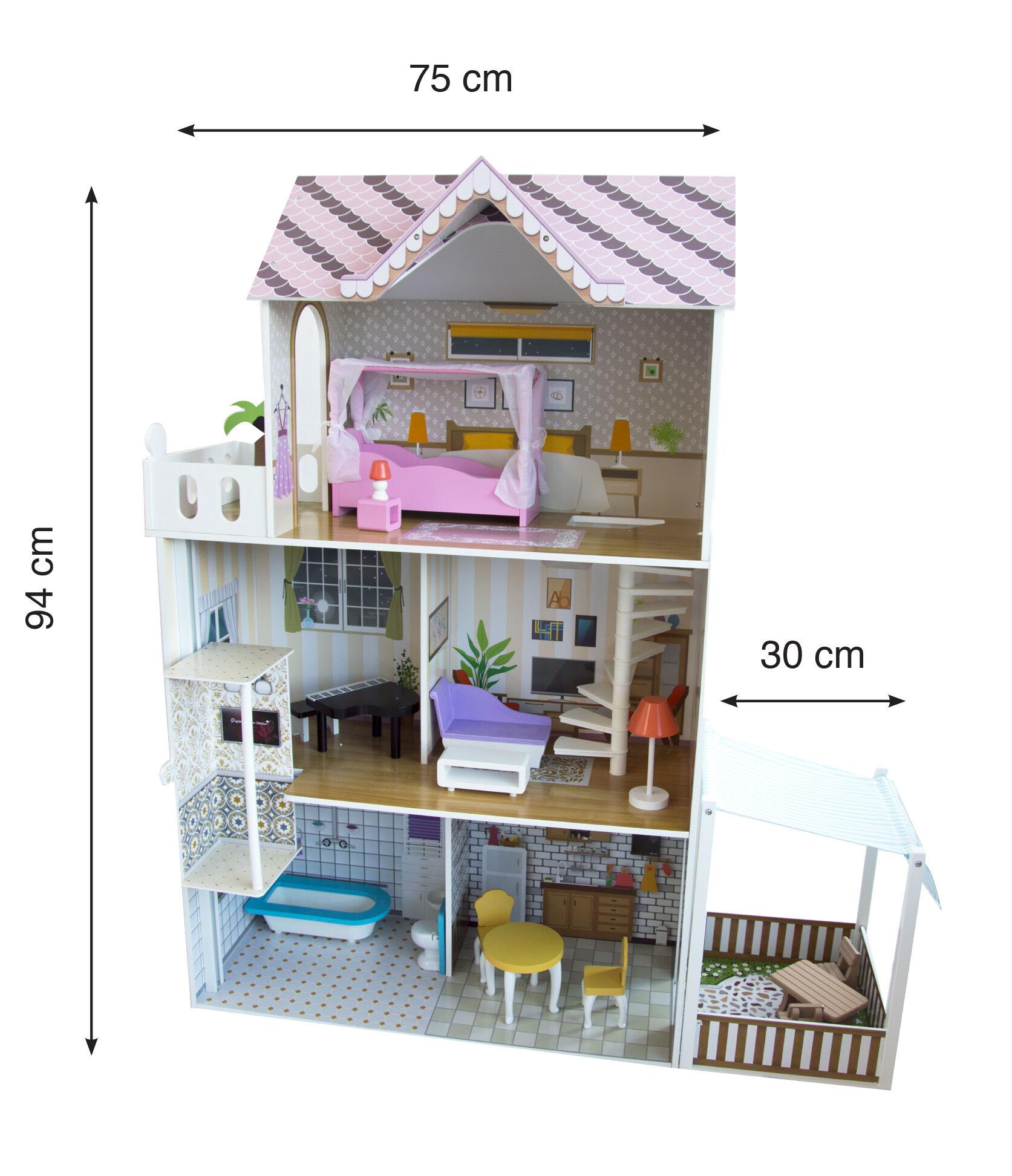 odg casa delle bambole/barbie in legno con veranda e 3 livelli di gioco