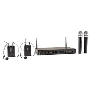 Malone Duett Quartett Fix V2 microfoni senza fili (2 microfoni ad archetto, 2 microfoni da mano, uscite XLR e jack-AUX, 4 canali UHF, display LCD, valigetta e imbottitura protettiva) - nero