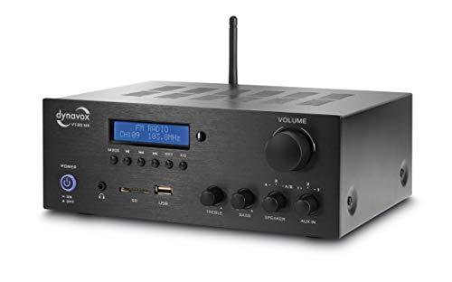 dynavox - amplificatore stereo compatto vt-80 mk, 4 porte per altoparlante avvitabili, telecomando per ingressi digitali (usb, scheda sd, antenna bt integrata e radio fm, nero