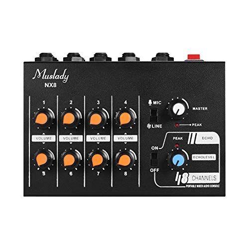 muslady mixer audio stereo 8 canali ultra-compatta a basso rumore con funzione eco nx8