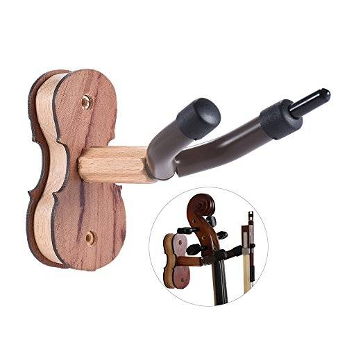 ammoon - stampella per violino in legno massiccio con gancio porta archetti, fissaggio a muro, in casa o in studio, color palissandro naturale, palissandro