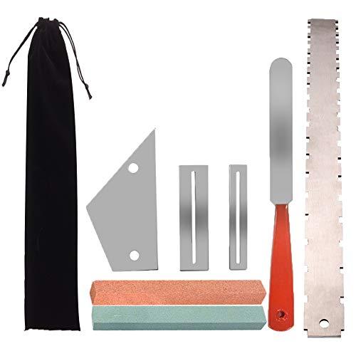 yznlife 7 in 1 kit di riparazione per chitarra e luthier, con 1 custodia in velluto nero, protezione tastiera con smerigliatrice per chitarra