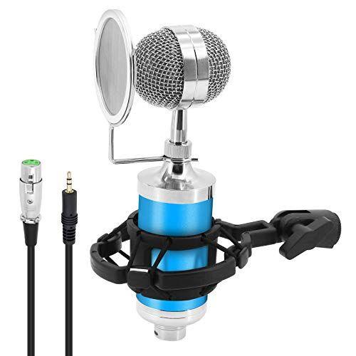 shawfly mini microfono a condensatore con filtro e supporto antiurto, microfono a condensatore per biberon registrazione in rete karaoke apparecchiature di trasmissione in diretta (blu)