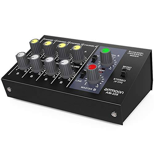 ammoon mixer audio ultra-compatta rumore basso 8 canali metallo mono stereo con cavo adattatore di alimentazione