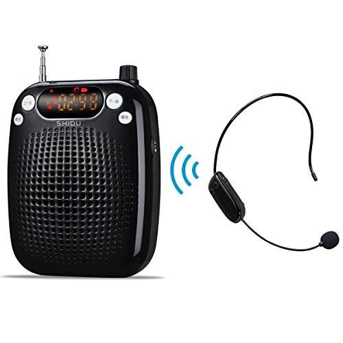 shidu amplificatore vocale portatile,microfono wireless portatile di insegnamento supporto voice amplificatore fm radio stereo u disco/tf for guide turistiche,insegnanti,allenatori,presentazioni,costumi