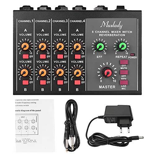 muslady mixer audio mono/stereo 8 canali m-228a dimensioni compatte con funzione di riverbero taglio di frequenza a 60hz