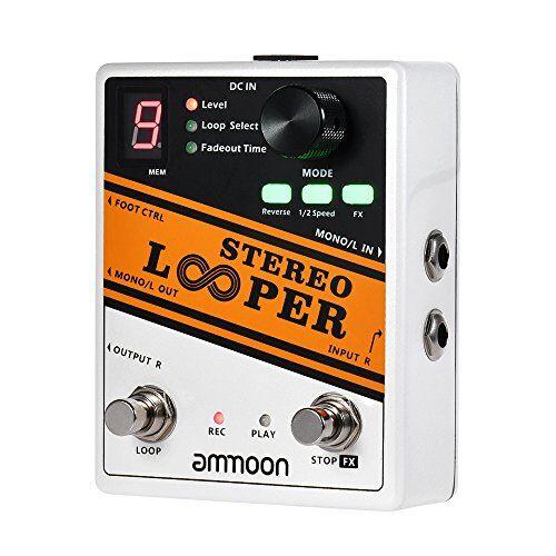ammoon stereo looper effetto chitarra record loop pedale 10 loop indipendenti max. tempo di registrazione di 10 minuti per ogni loop overdubbing illimitato