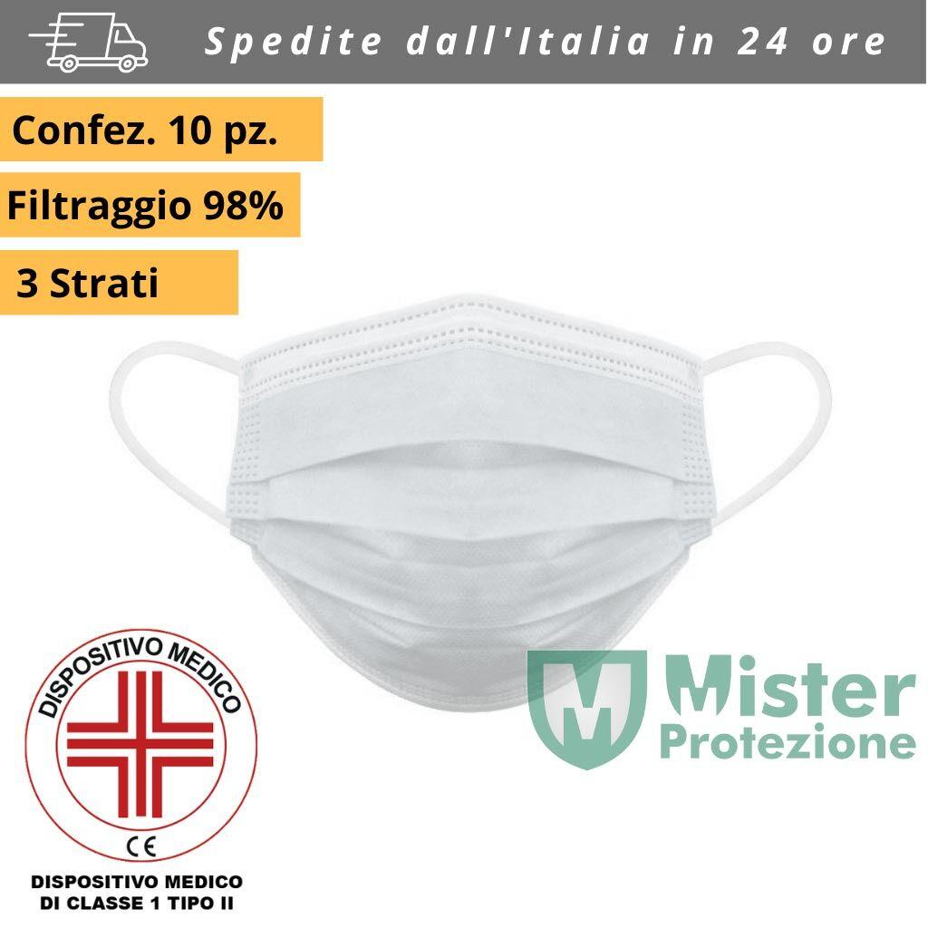 misterprotezione mascherina chirurgica certificata medica wextra da 1 pezzo coronavirus monouso per adulti in tnt 3 veli bianca