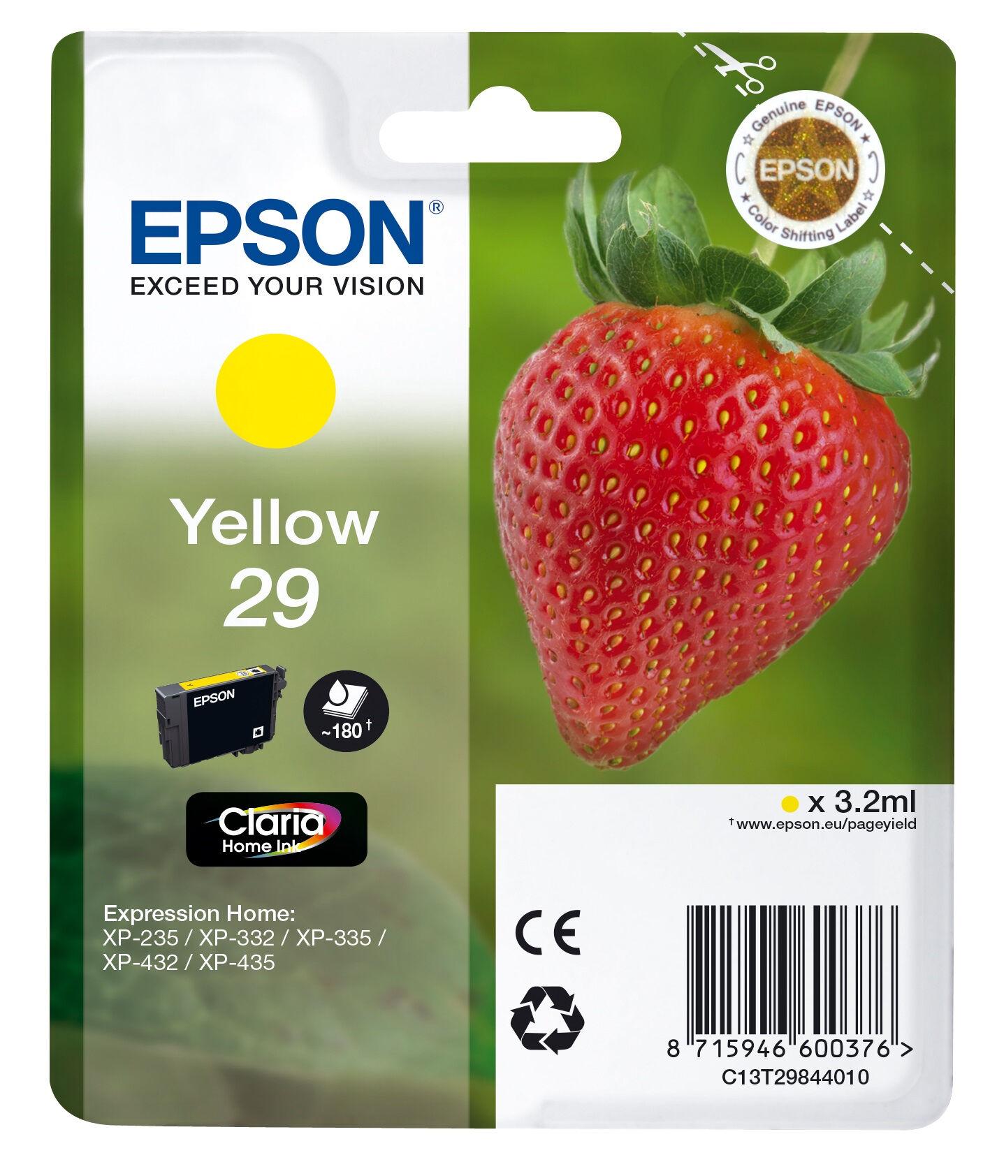 Epson Strawberry 29 Y cartuccia d'inchiostro 1 pezzo(i) Originale Resa standard Giallo