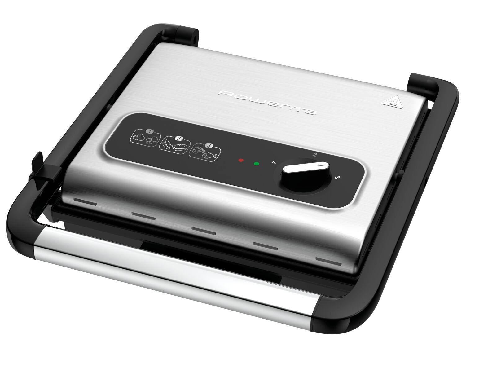 rowenta gr242d inicio grill adjust, griglia multifunzione per carne e verdura, 3 livelli di cottura, 2000 w, ghisa
