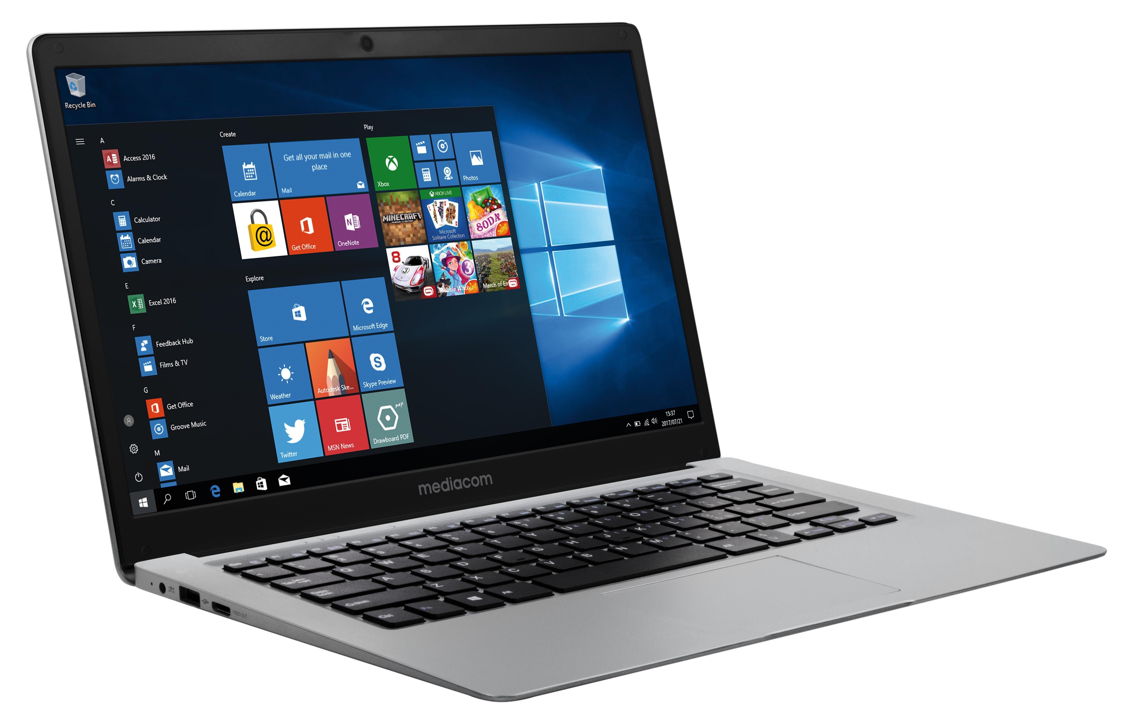 "Mediacom M-SB146 Computer portatile 14"" FHD 1920 x 1080 Pixel Intel® Celeron® 4GB 64GB Flash Windows 10 Home Nero, Argento"