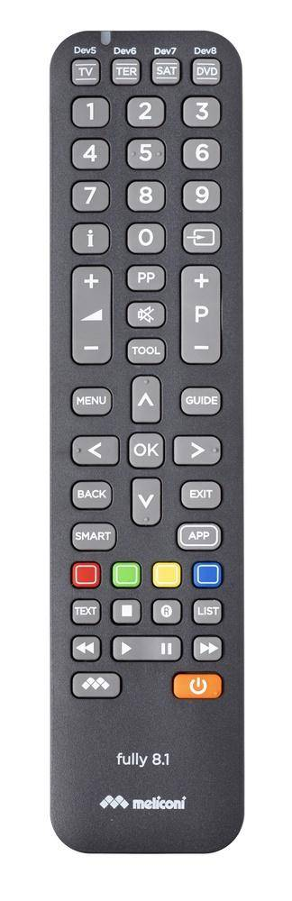 Meliconi Fully 8.1 telecomando IR Wireless DVD/Blu-ray, SAT, Sky, TV Pulsanti